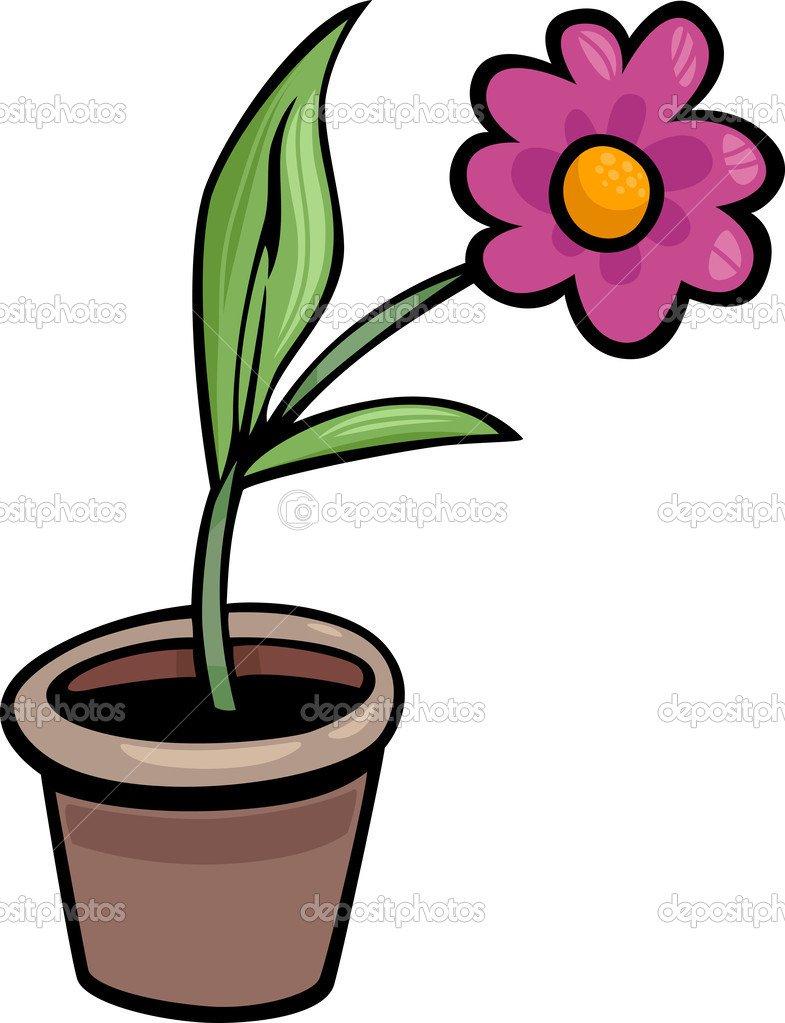 Flor Em Vaso Clip Arte Desenho Ilustração — Vetor De Stock