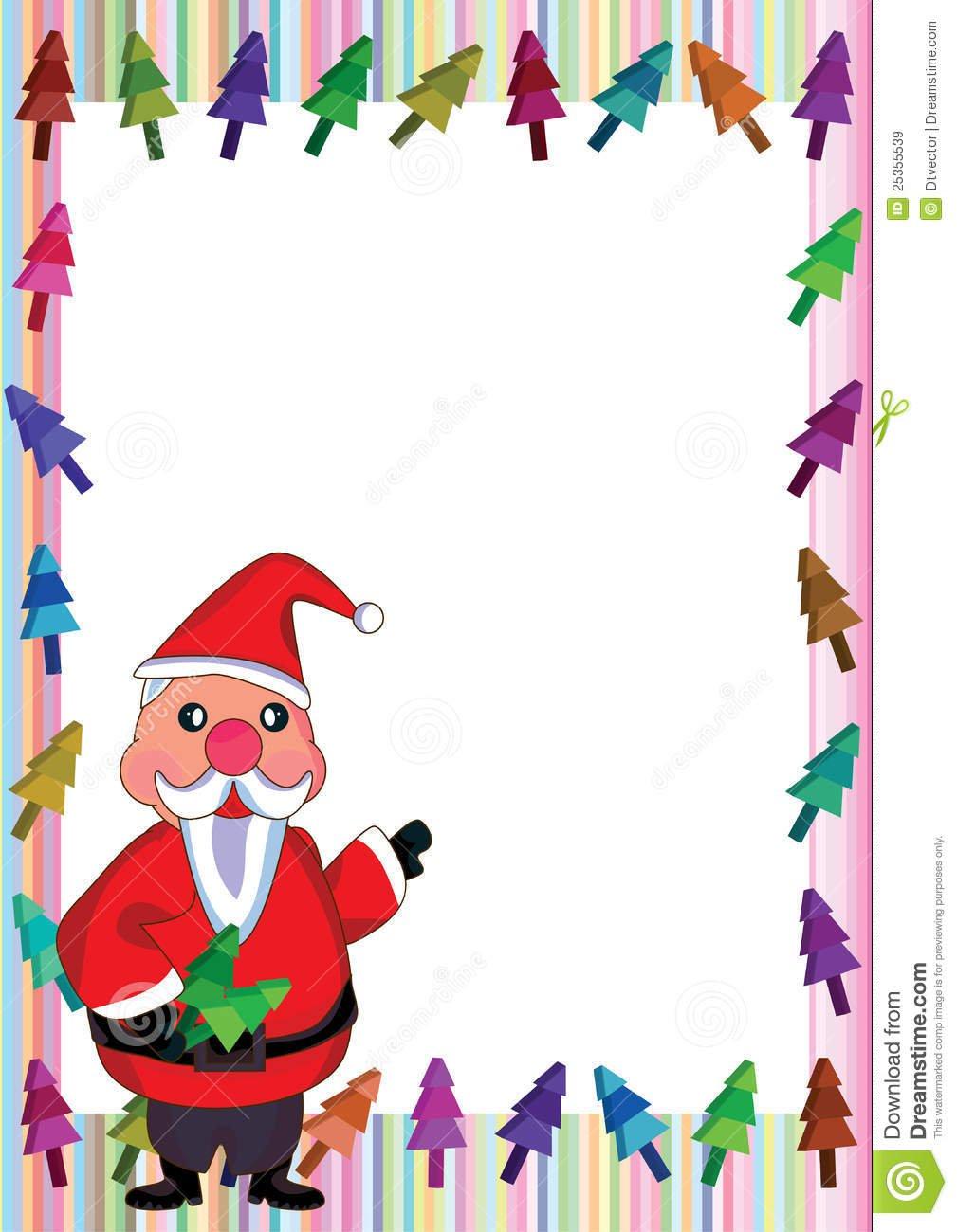 Foto De Stock  Santa Claus Colorful Tree Frame_eps  Imagem