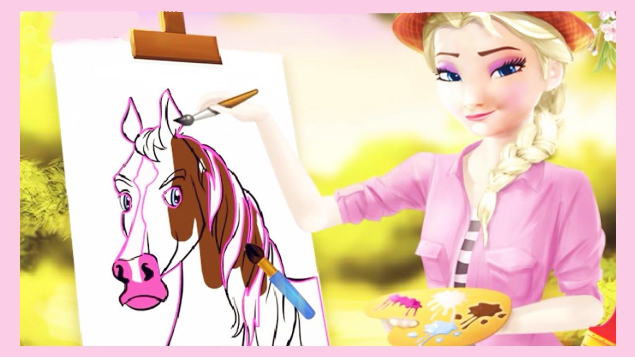 Frozen Elsa Pintando Um Cavalo (elsa Painting A Horse)