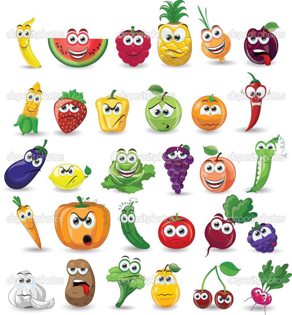 Frutas E Legumes Dos Desenhos Animados — Vetor De Stock