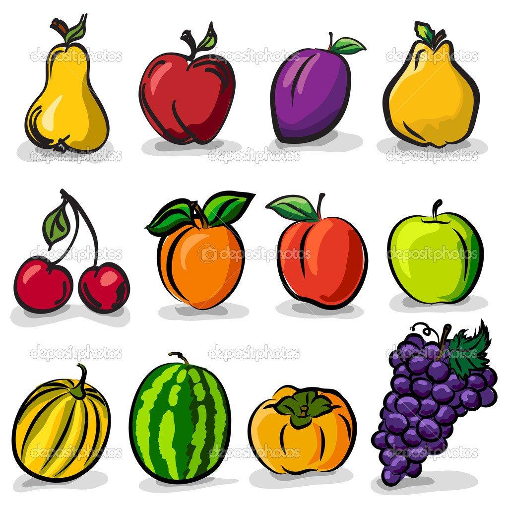 Frutas Temperadas Esboçar O Conjunto De Desenhos Vetoriais — Vetor