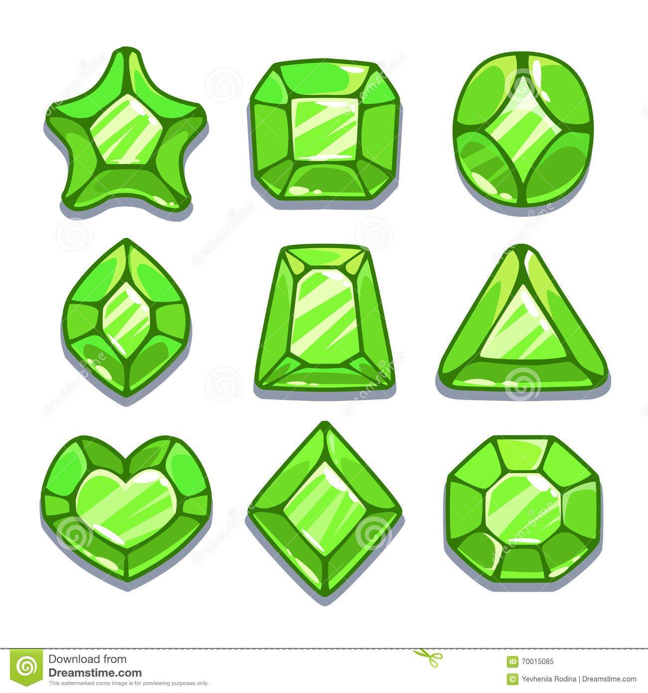 Gemas Diferentes Verdes Das Formas Dos Desenhos Animados Ajustadas