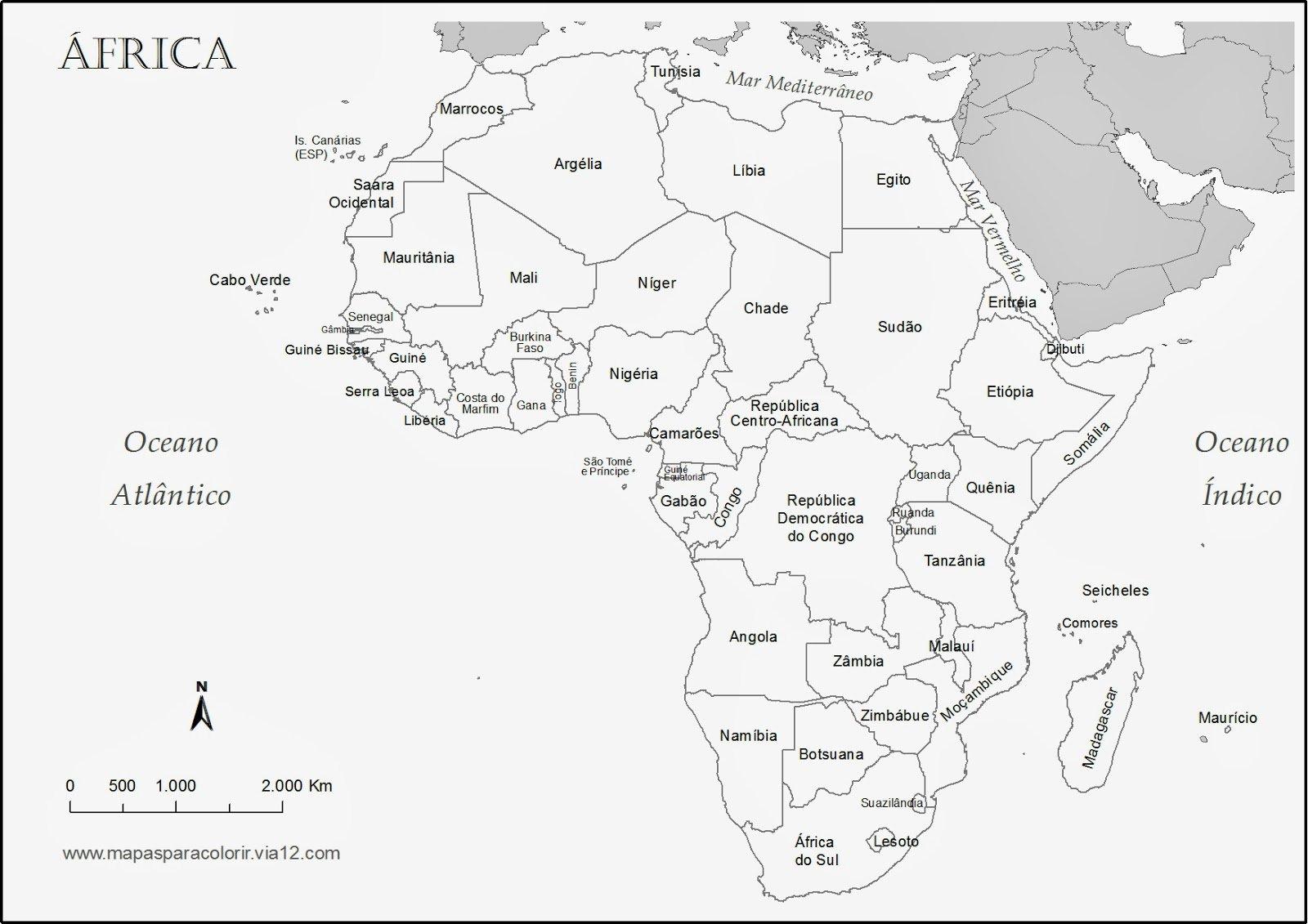 Geografia Para Todos  Mapa Para Colorir  Africa