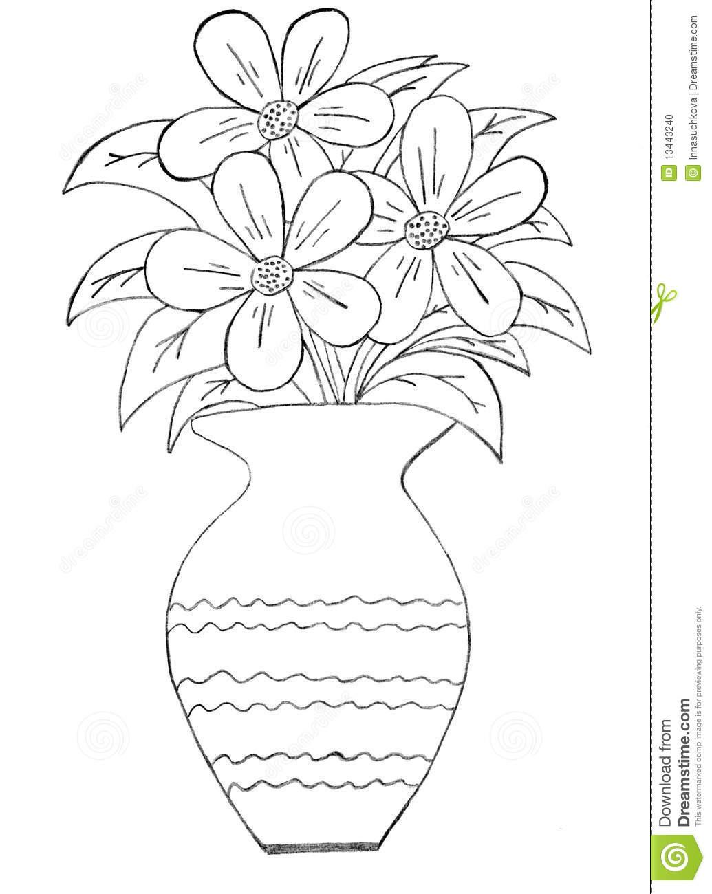 Grupo De Flores Em Um Vaso Foto De Stock
