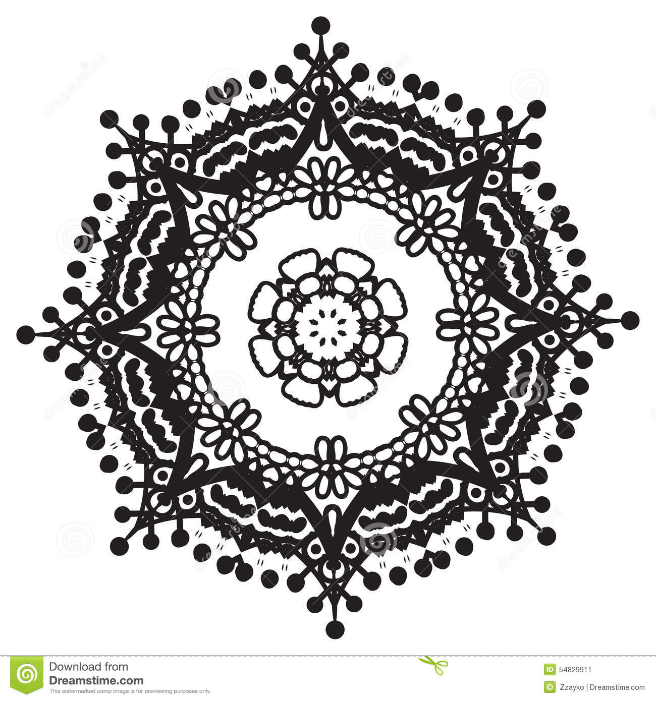 Hand Drawing Zentangle Mandala Element Stock Illustration