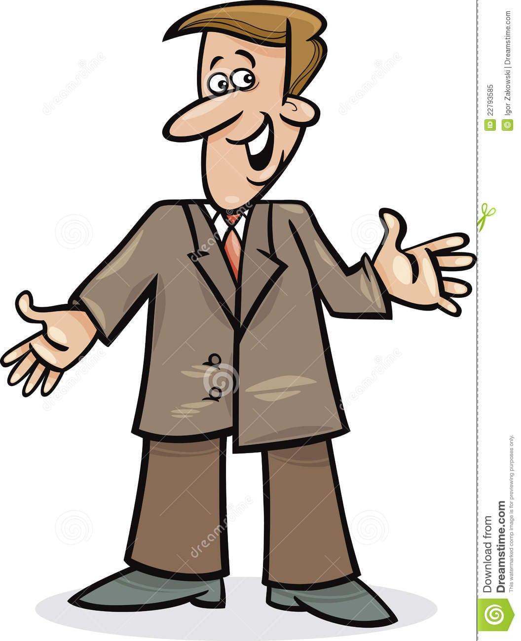 homem dos desenhos animados no terno foto de stock royalty free