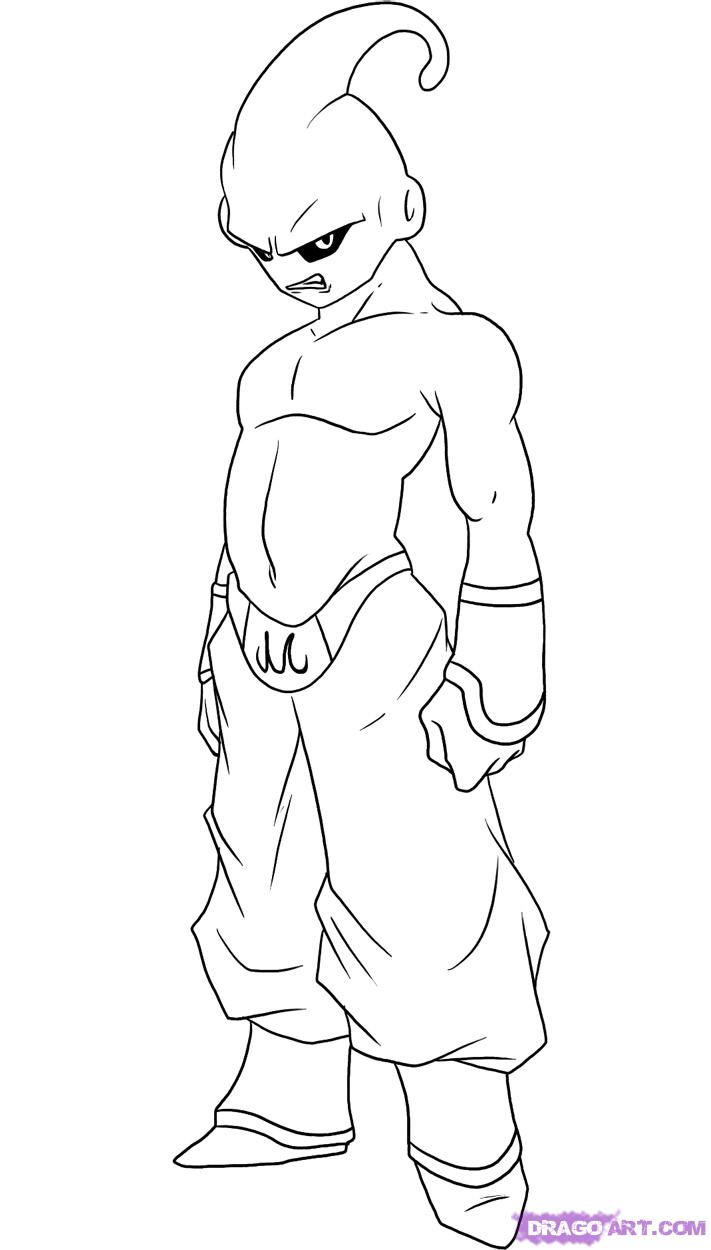 How To Draw A Dragon Ball Z Buu Character Sketch Coloring Page