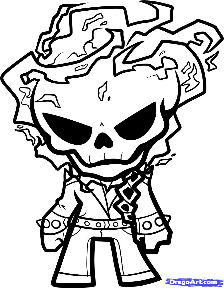 How To Draw Easy Ghost Rider Sketch Coloring Page