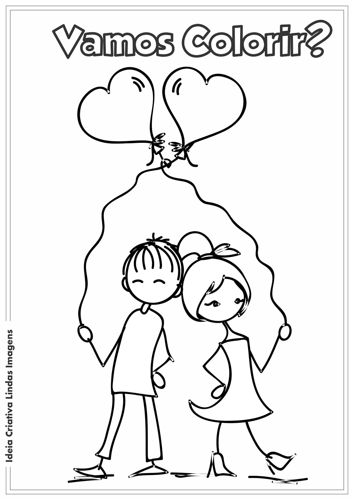 Ideia Criativa Lindas Imagens  Dia Dos Namorados Desenho Para Colorir