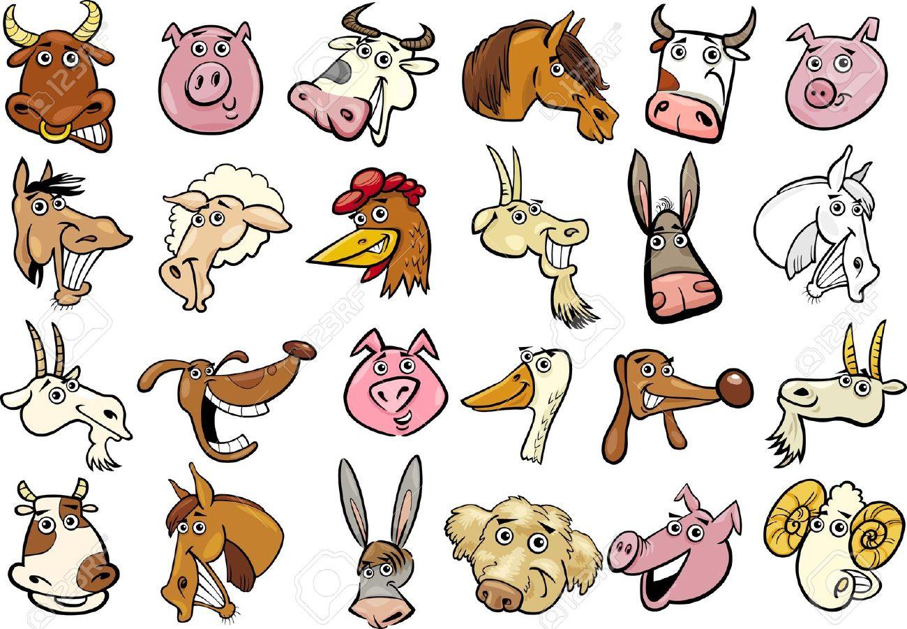 Ilustração Dos Desenhos Animados De Diferentes Animais De Fazenda