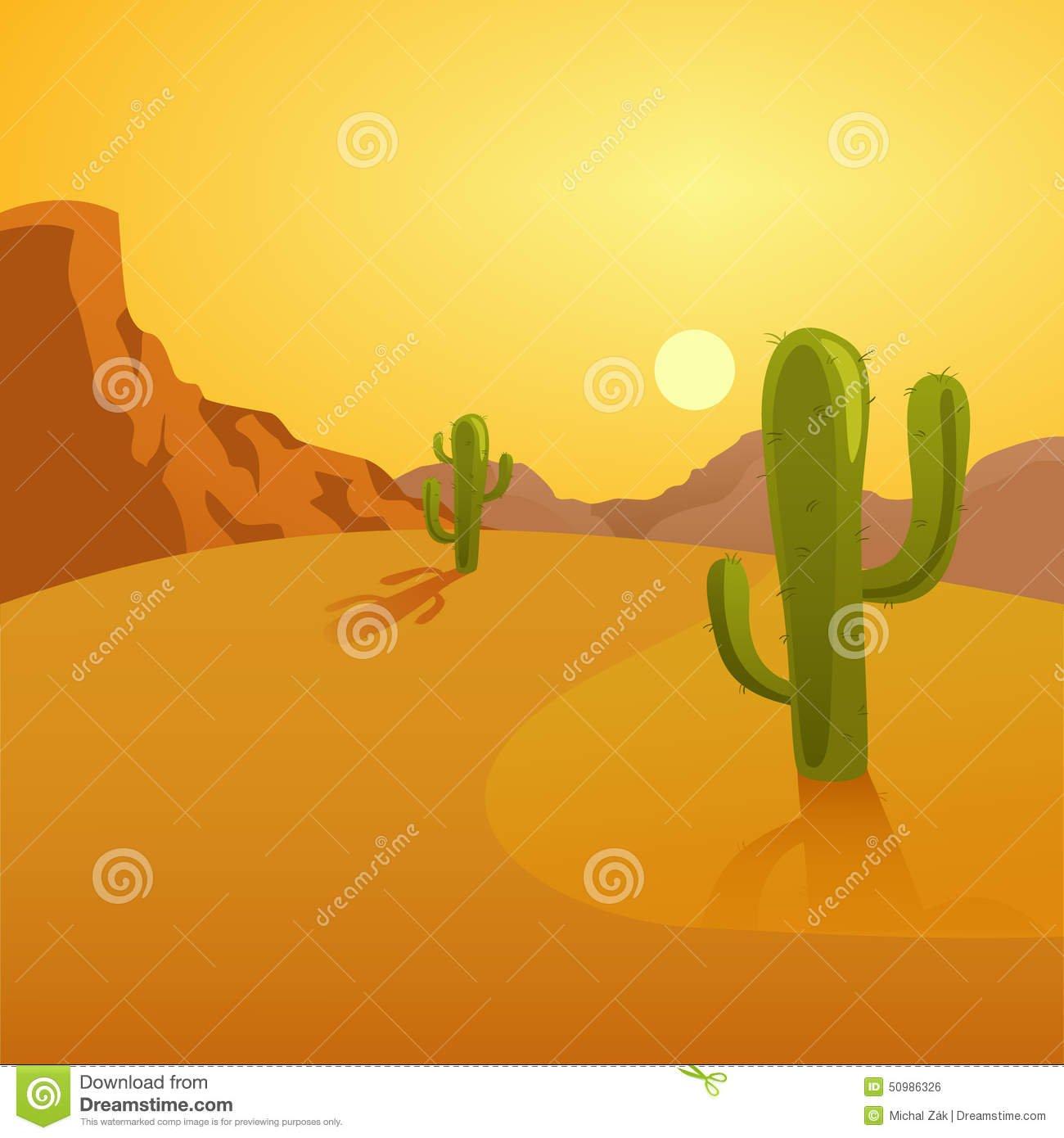 Ilustração Dos Desenhos Animados De Um Fundo Do Deserto Com Cactos
