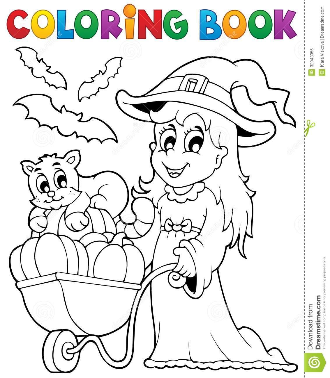 Imagem 2 De Dia Das Bruxas Do Livro Para Colorir Foto De Stock