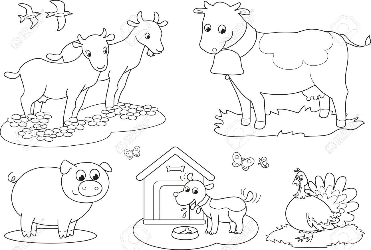 Jogo De Colorir Animais De Fazenda Para Crianças De Cabra, Vaca
