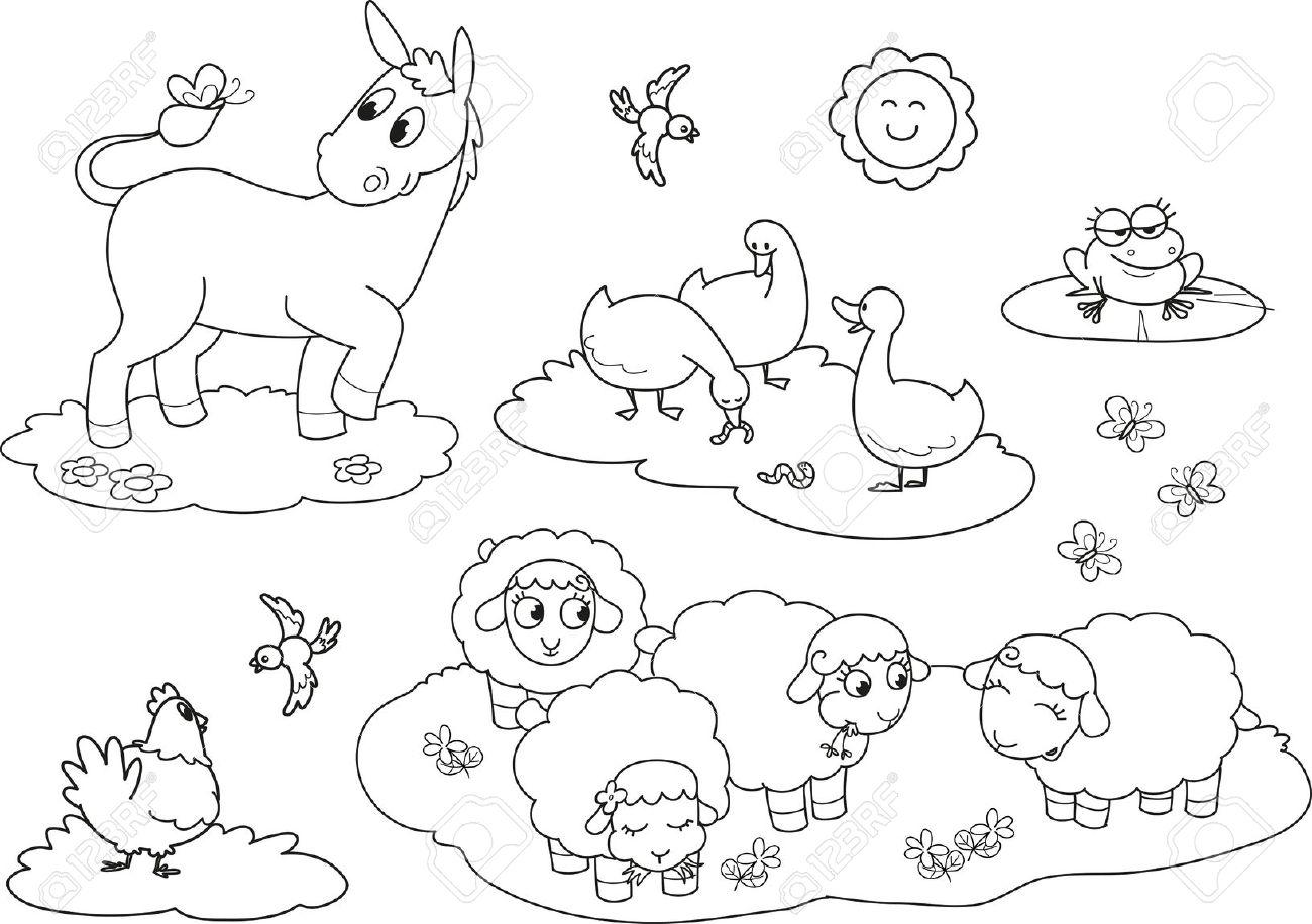 Jogo De Colorir Animais Para Crianças Burro Ovelhas Ganso Galinha