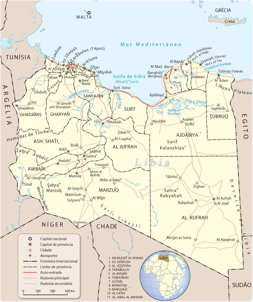 Líbia Mapa Turístico