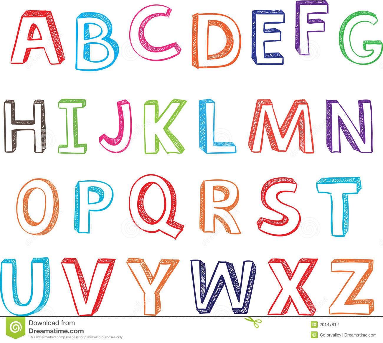 Letras Desenhadas Mão Do Alfabeto  Fotografia De Stock