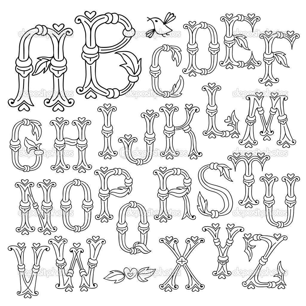 Letras Do Alfabeto Desenhadas De Mão Caprichosa — Vetor De Stock