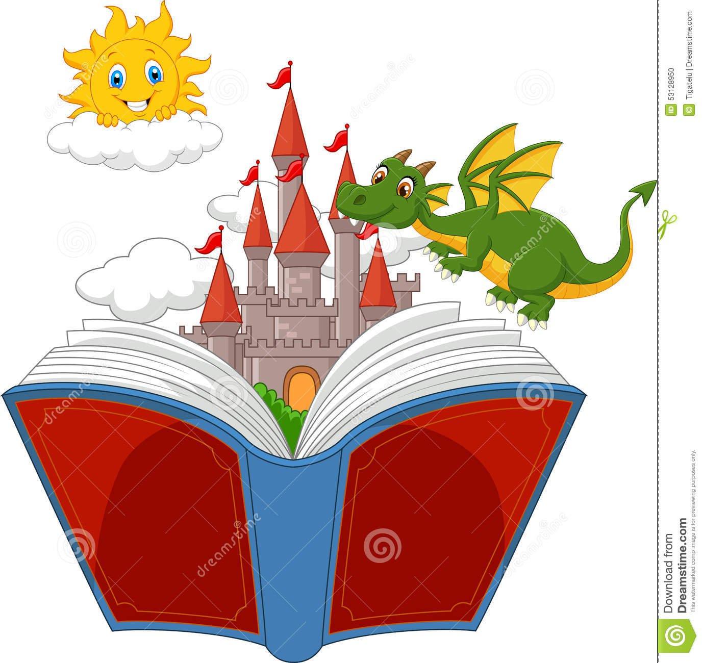 Livro Da História Com Castelo, Dragão E Sol Dos Desenhos Animados