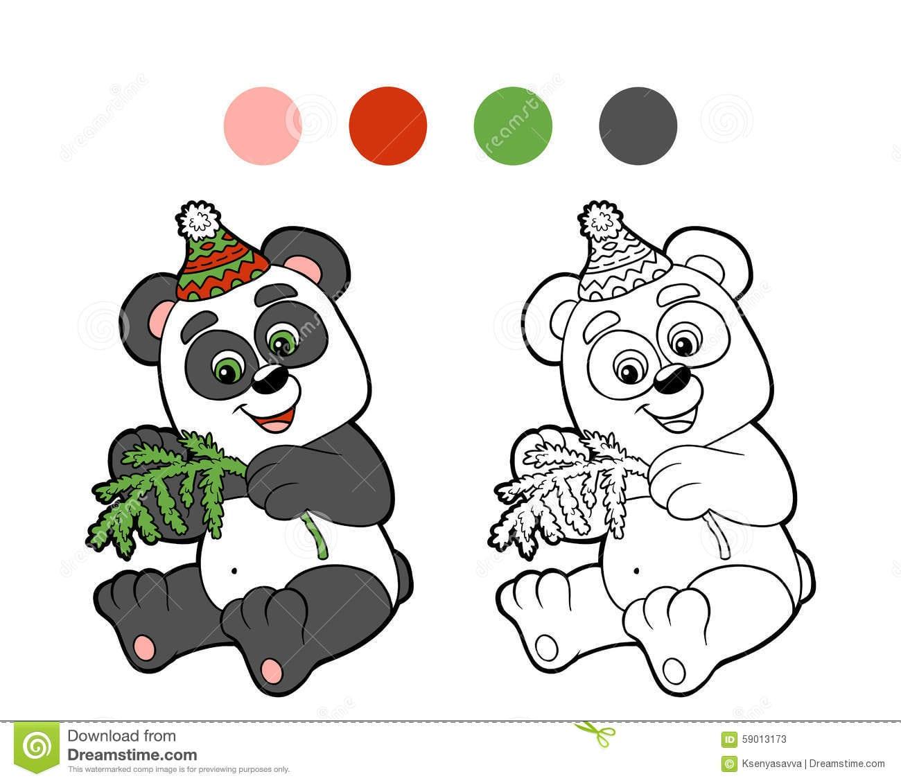 Livro Para Colorir  Panda Do Inverno Do Natal Ilustração Do Vetor