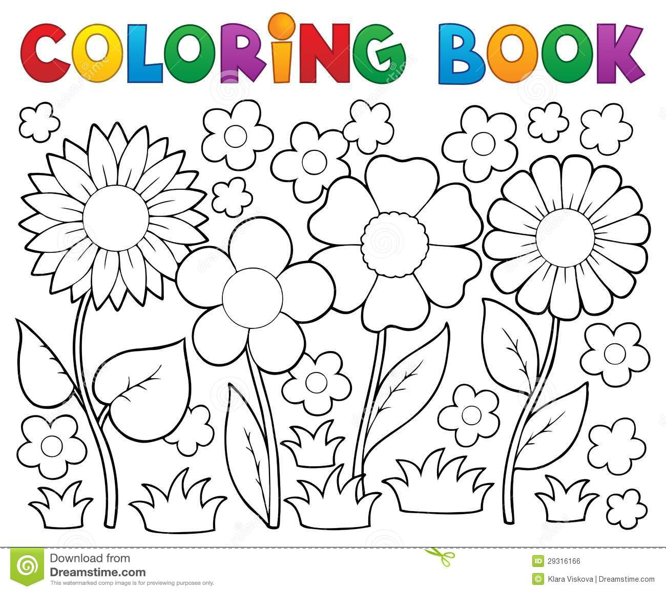 Livro Para Colorir Com Tema Da Flor Imagem De Stock Royalty Free