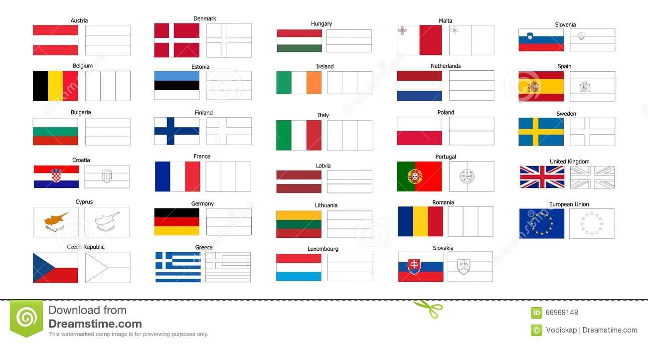 Livro Para Colorir De Bandeiras De Países Da Ue Ilustração Do