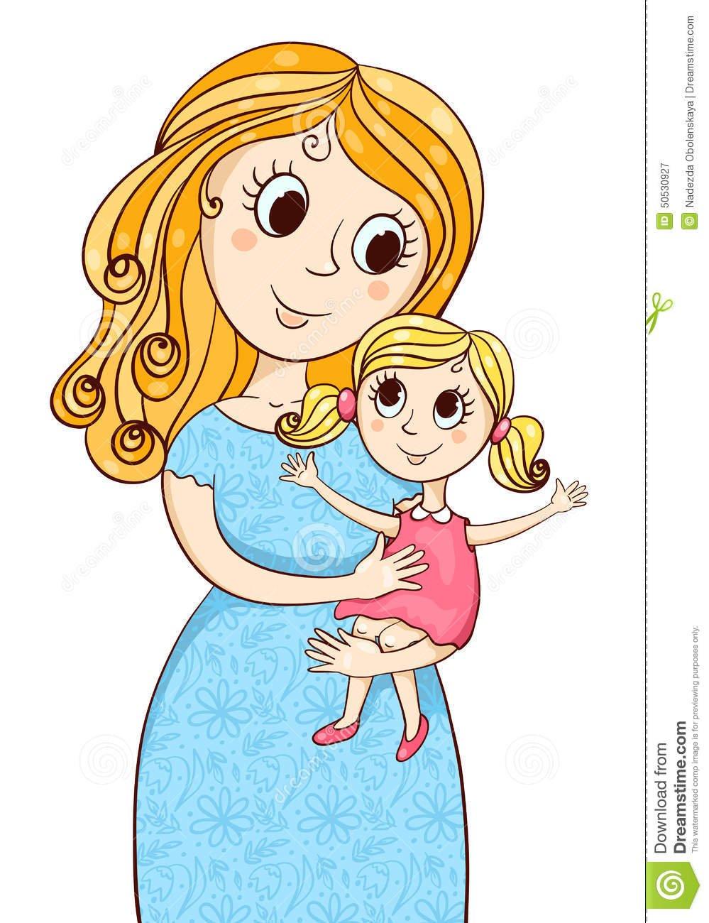 Mãe Dos Desenhos Animados Com Menina Ilustração Do Vetor