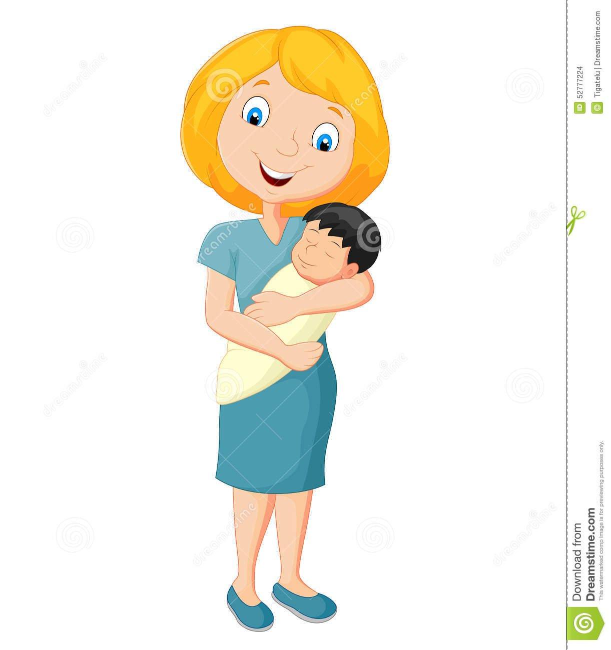 Mãe Nova Dos Desenhos Animados Que Abraça Maciamente Seu Bebê