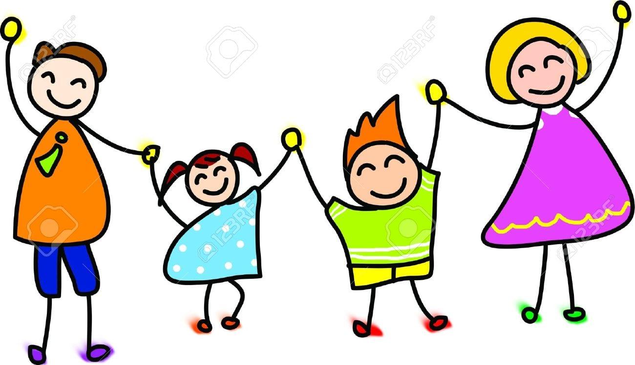Mão Família Feliz Desenhado Ilustração Dos Desenhos Animados