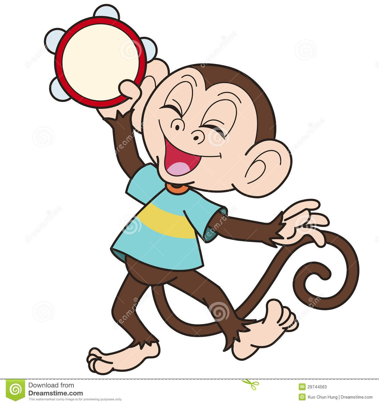Macaco Dos Desenhos Animados Que Joga Um Pandeiro Fotos De Stock