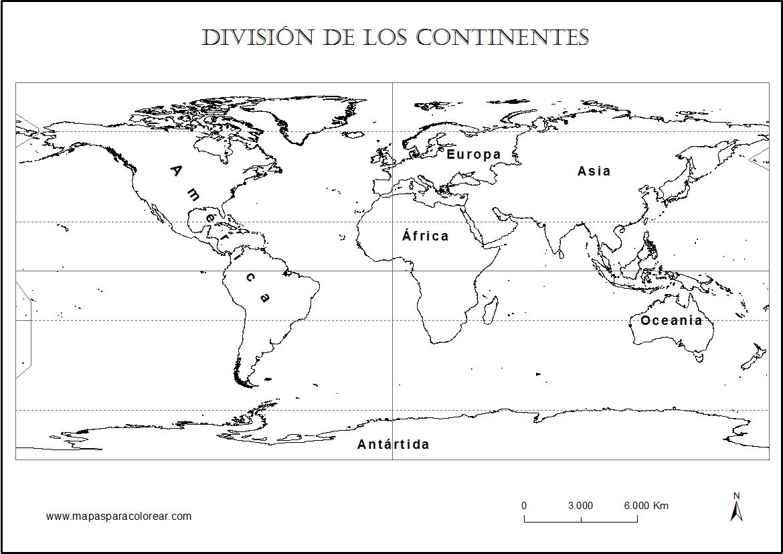 Mapa De Continentes Para Colorear