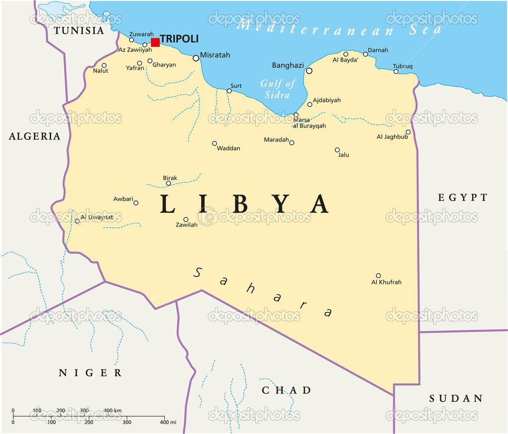 Mapa Político De Líbia — Vetor De Stock © Furian  51379713