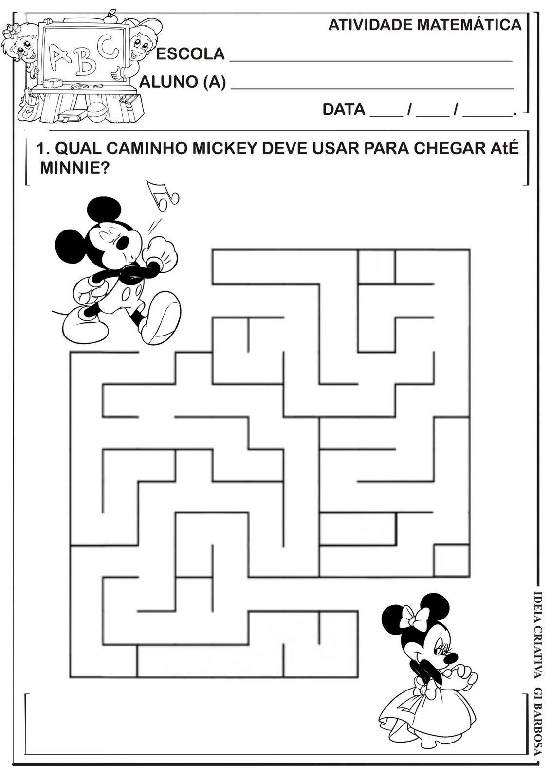 Matemática Infantil  Labirinto Mickey E Minnie Colorir