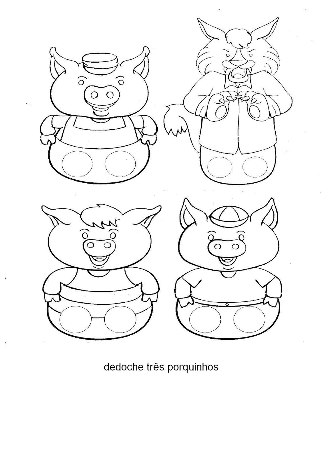 Meus Trabalhos Pedagógicos ®  Dedoches E Fantoches Três Porquinhos