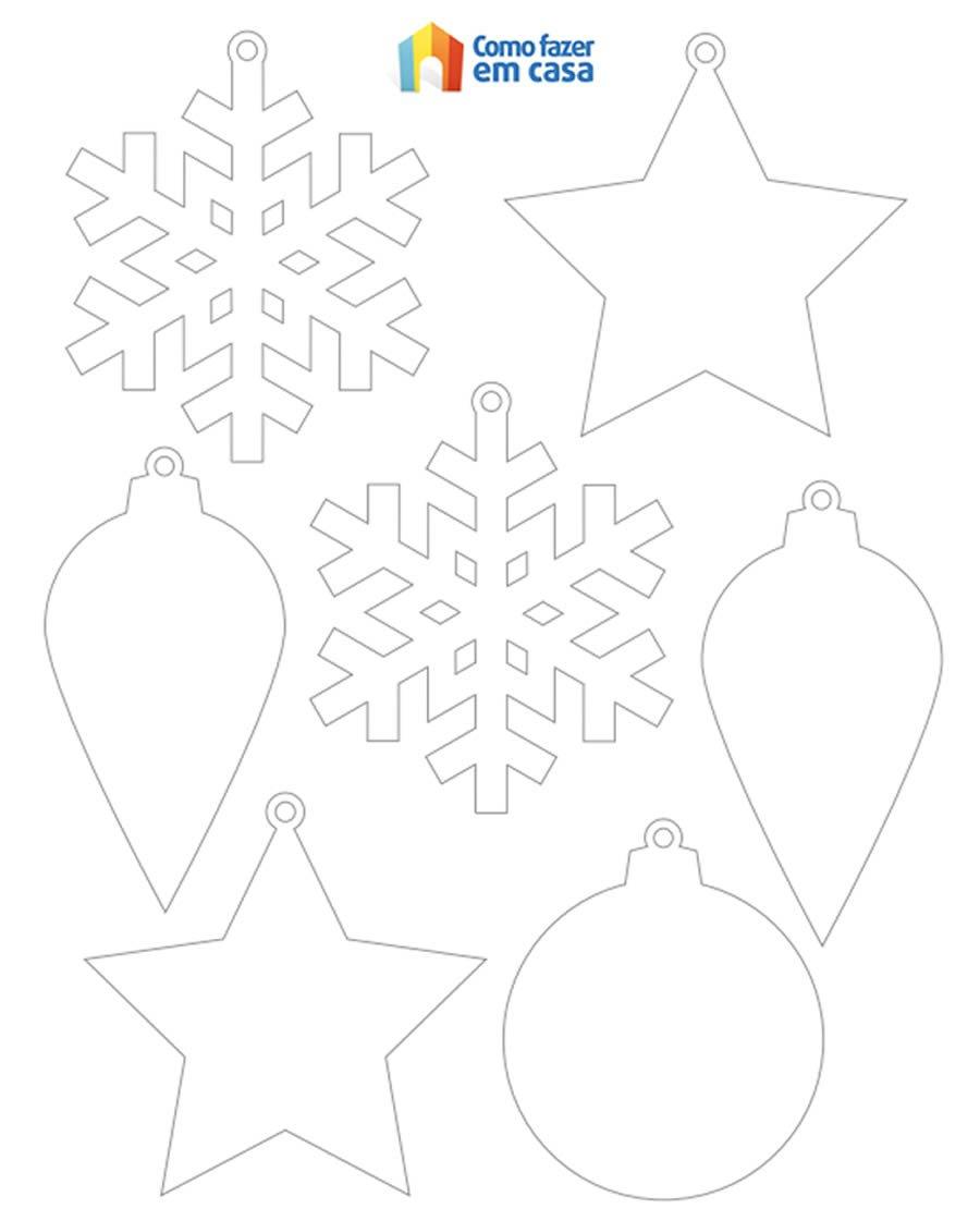 Moldes Para Enfeites Coloridos De Natal Com Papel