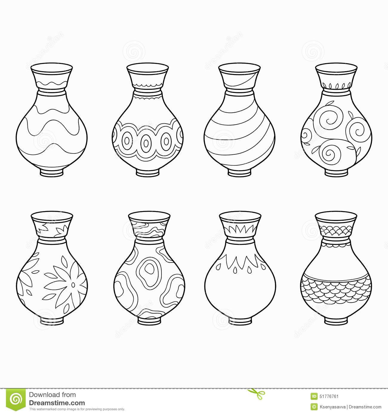 O Livro Para Colorir (vasos Com Flores), Vector O Grupo Incolor
