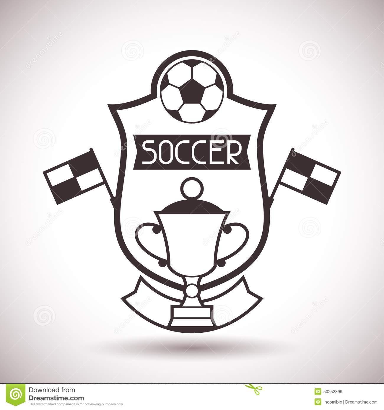 Os Esportes Etiquetam Com Símbolos Do Futebol Ilustração Do Vetor