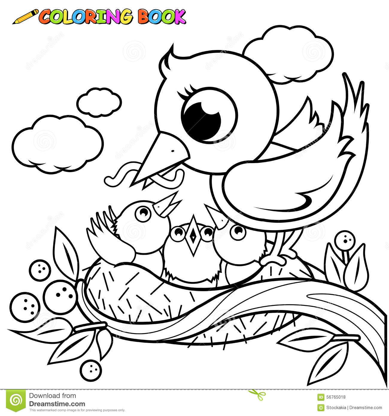 Pássaros Bonitos Na Página Do Livro Para Colorir Do Ninho