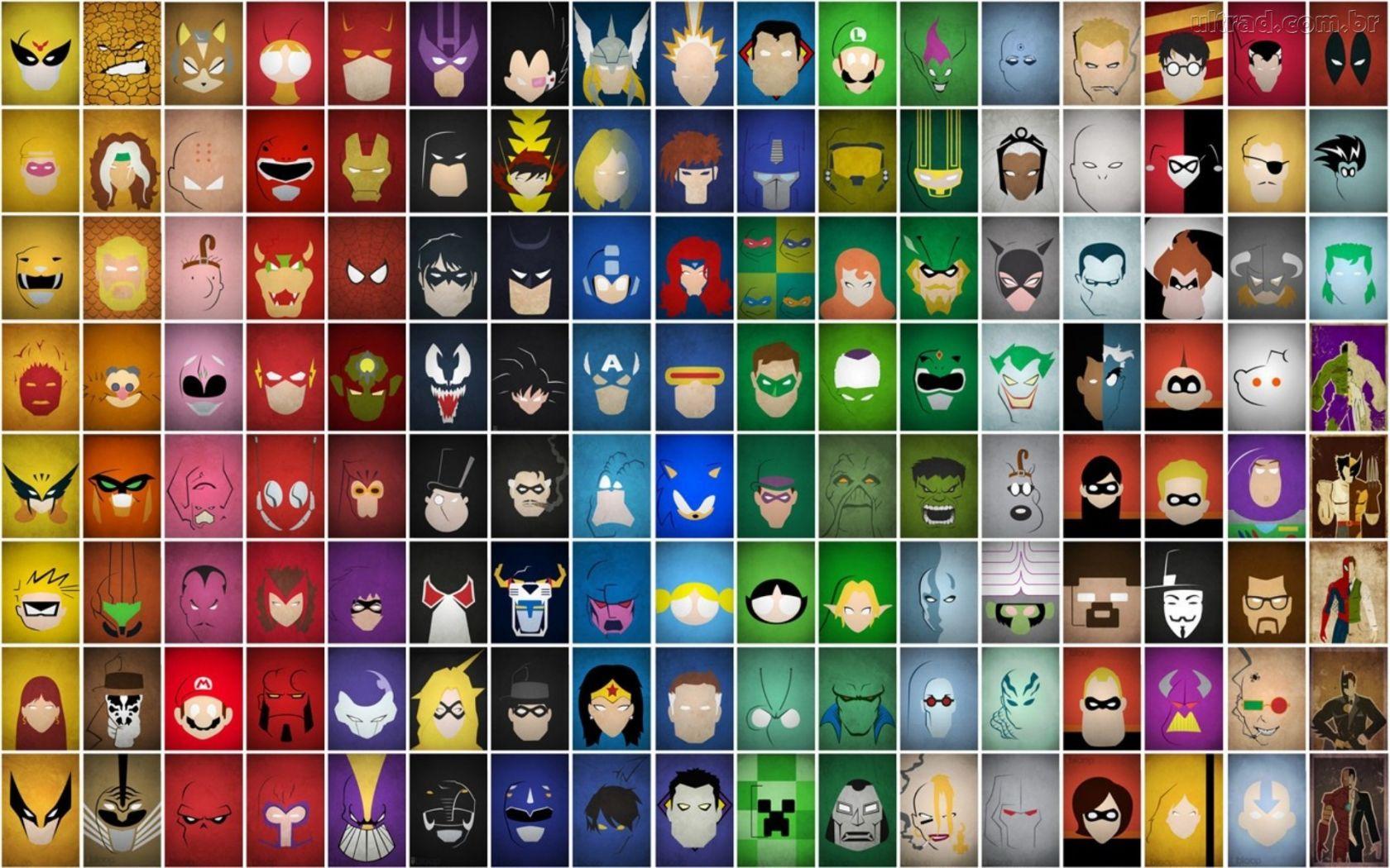 Papel De Parede Compilação De Super Heróis E Vilões