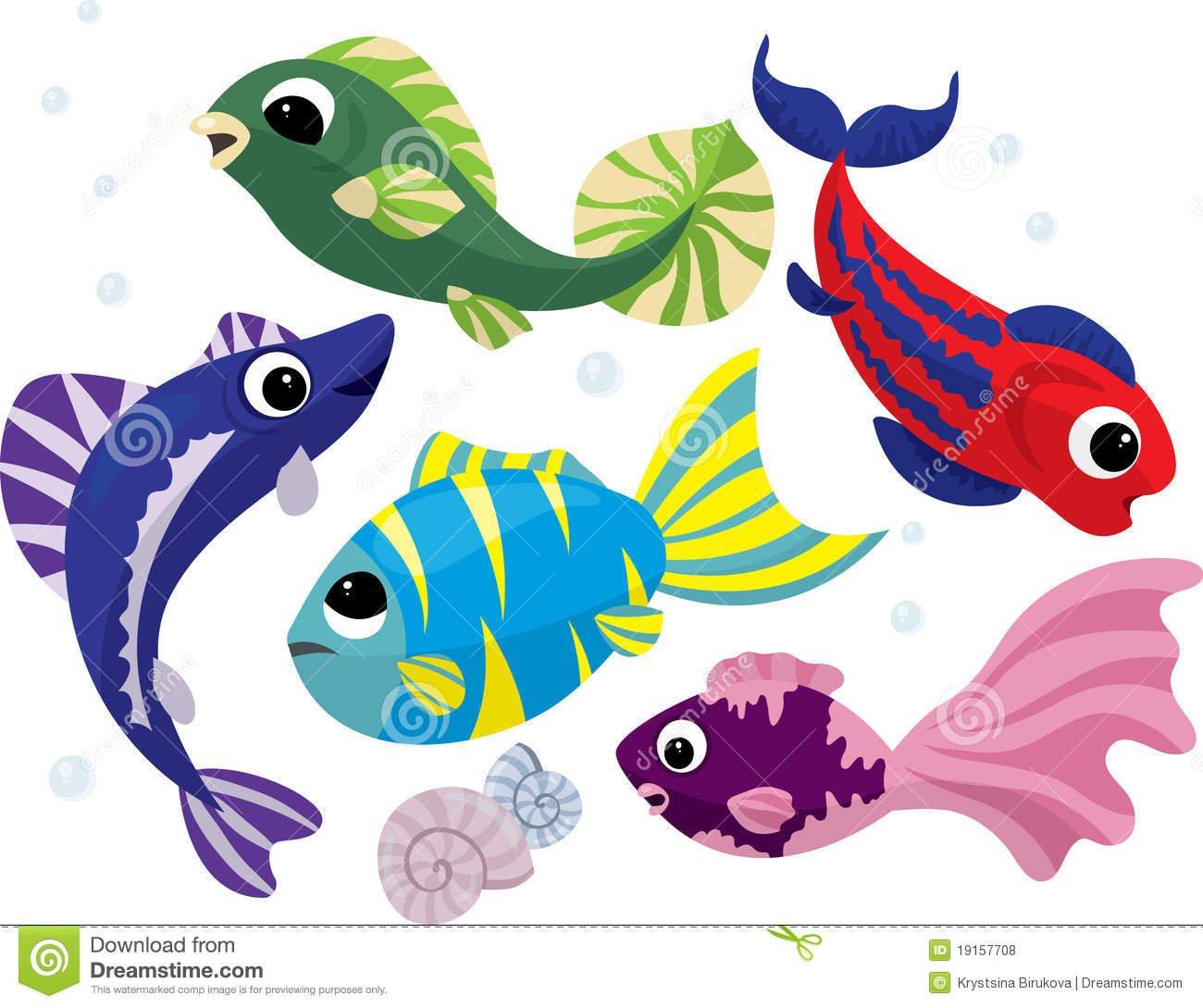 Peixes Coloridos Brilhantes Dos Desenhos Animados Ajustados Fotos