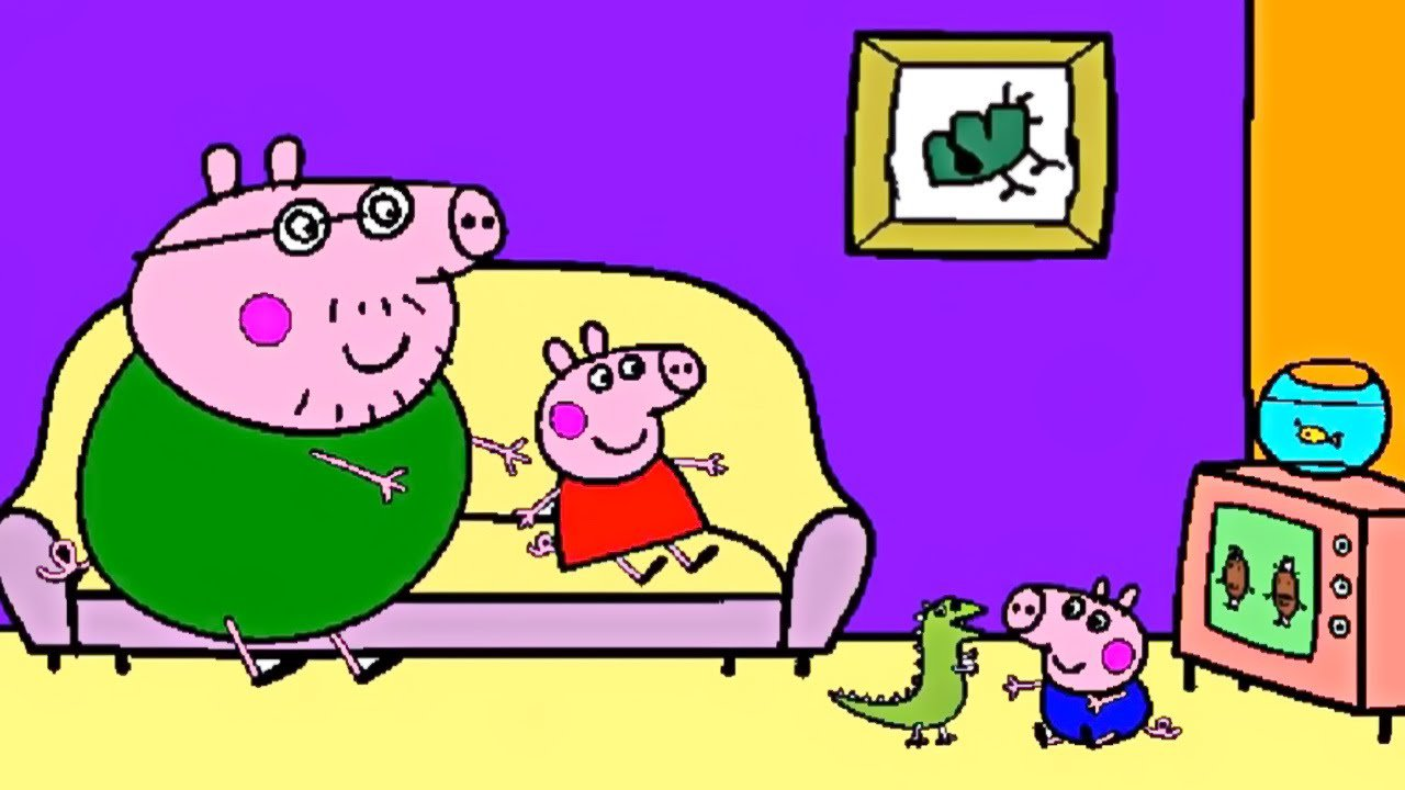 Peppa Pig Daddy Pig Watching Tv, George Playing Coloring Page