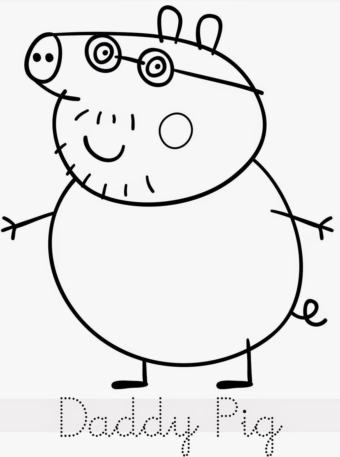 Peppa Pig Papai Colorir Desenho Risco Molde Pintar Imprimir 4