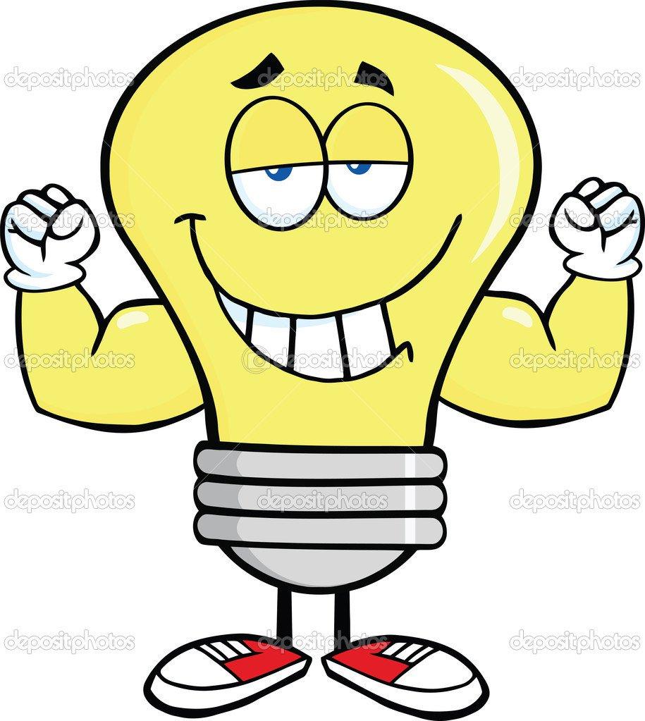 Personagem De Desenho Animado De Lâmpada Com Braços De Músculo