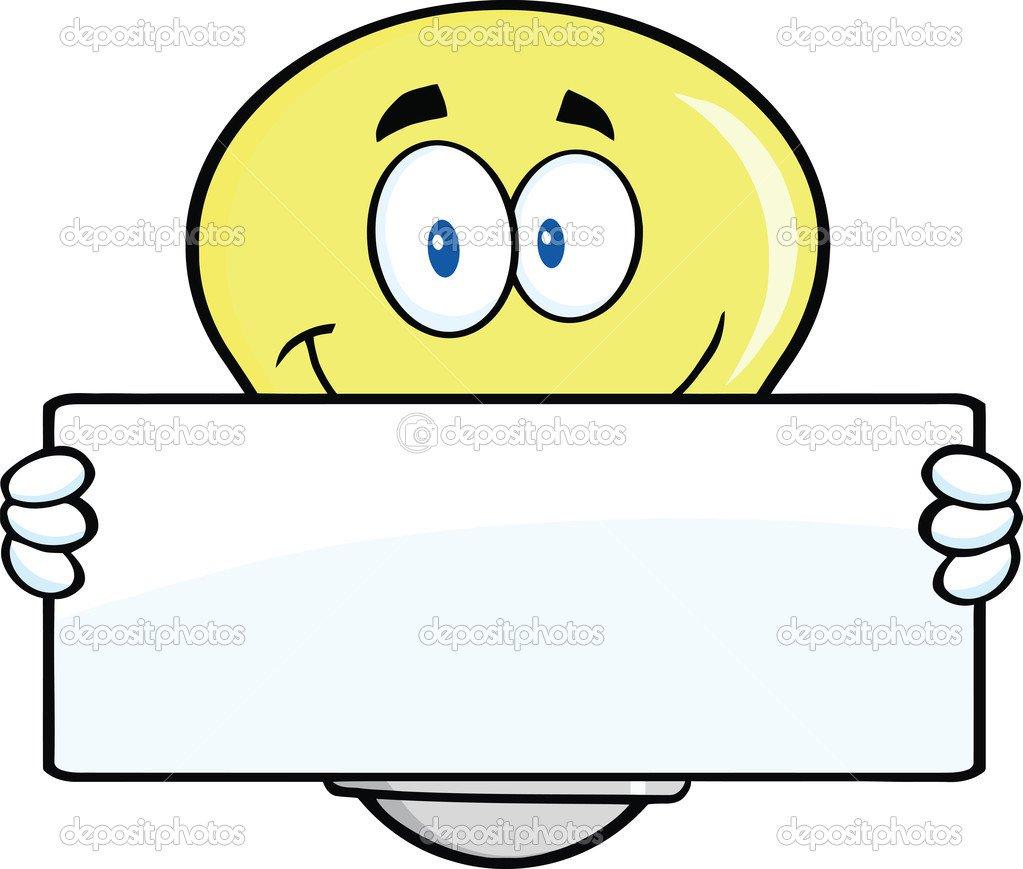Personagem De Desenho Animado De Lâmpada Segurando Um Banner