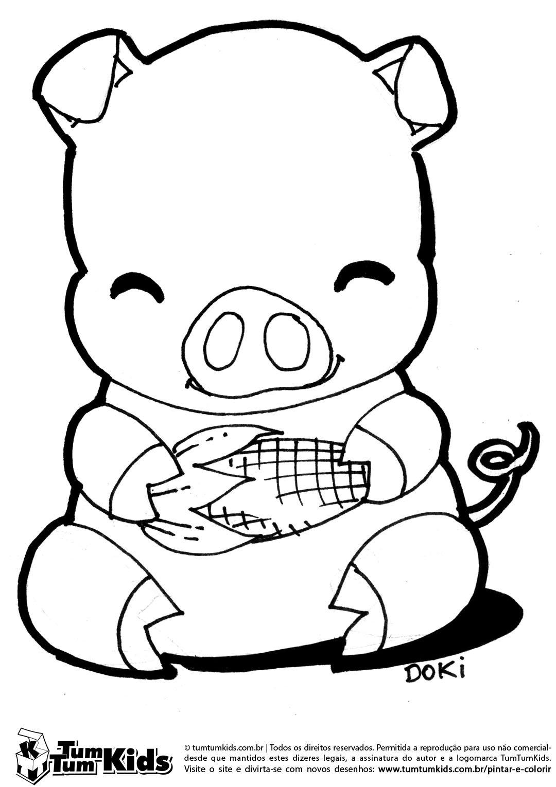 Porquinho Sentado Comendo Milho