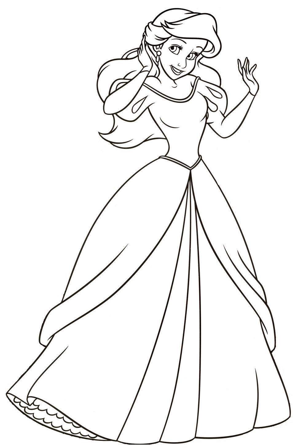 Princesa Ariel Para Colorear Sketch Coloring Page
