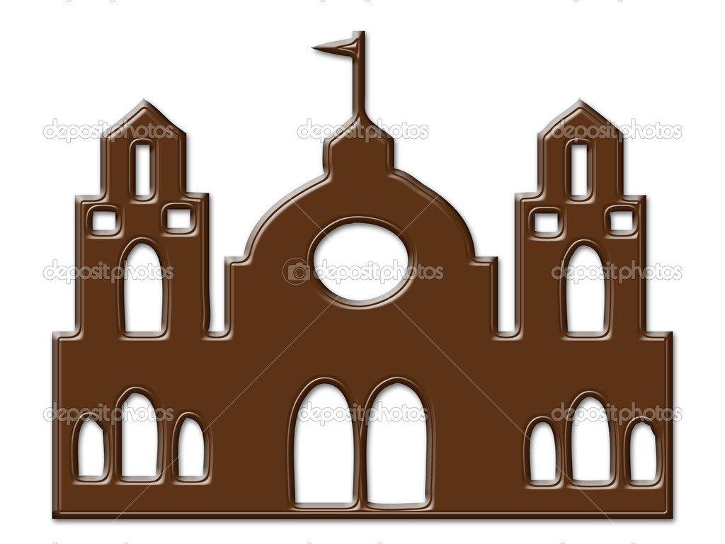Quadro De Desenho Animado Castelo Chocolate Isolado — Fotografias