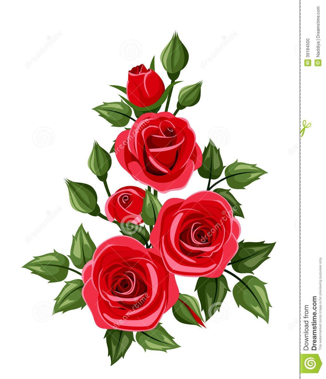 Ramo De Rosas Vermelhas  Ilustração Do Vetor  Ilustração Do Vetor