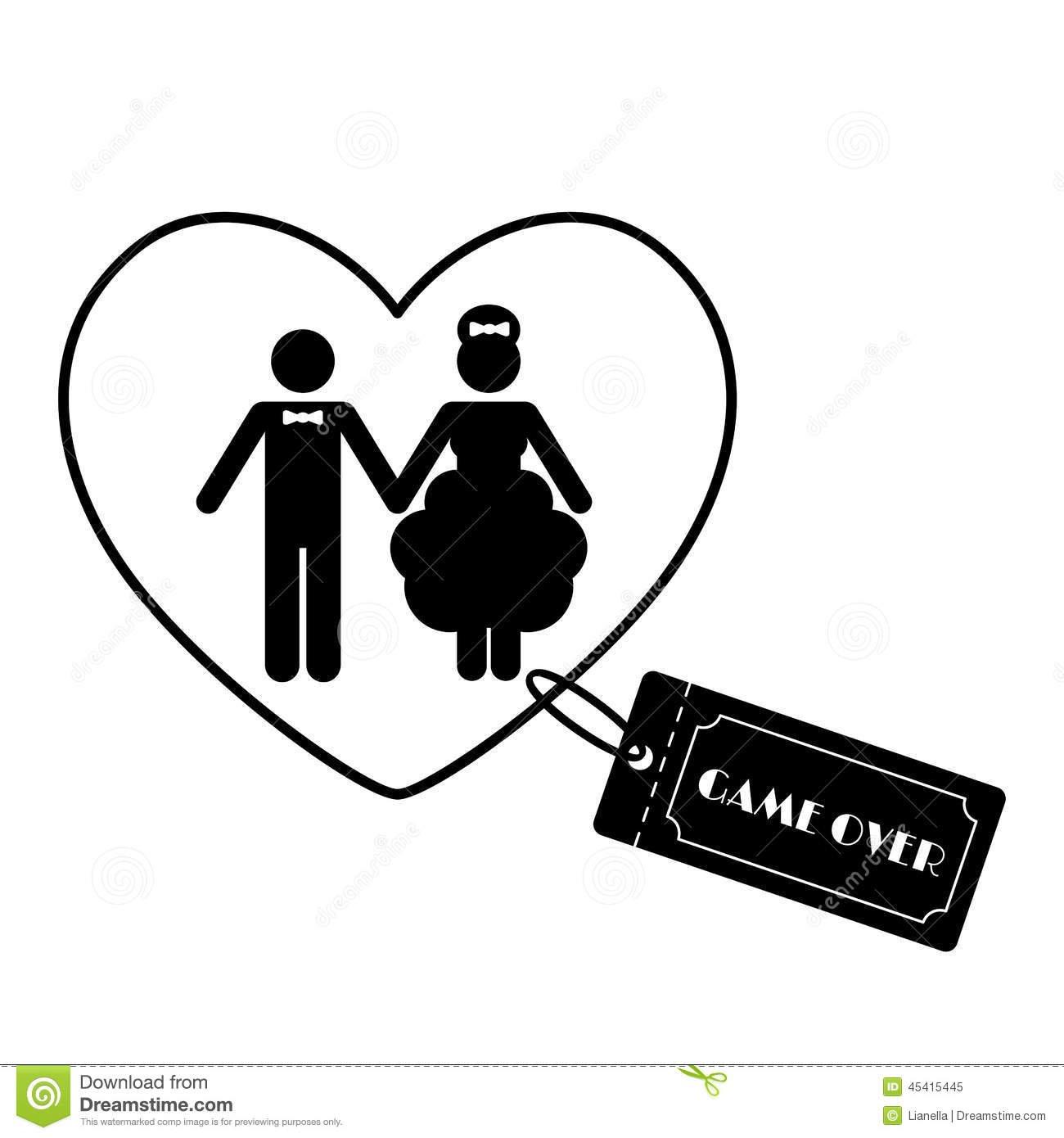 Símbolos Engraçados Do Casamento Dos Desenhos Animados