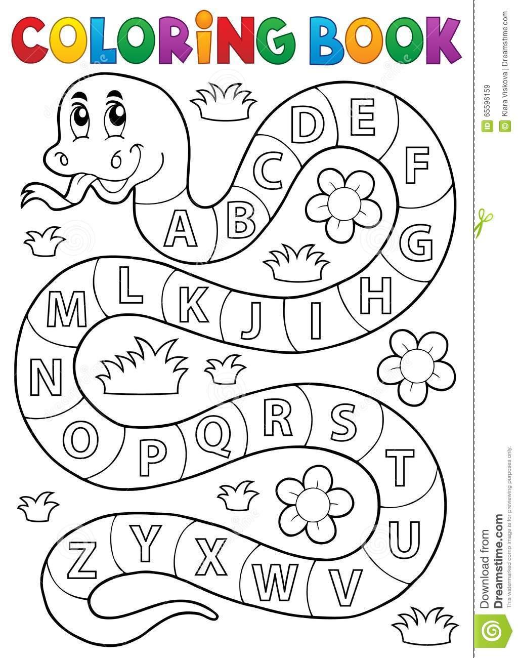 Serpente Do Livro Para Colorir Com Tema Do Alfabeto Ilustração Do