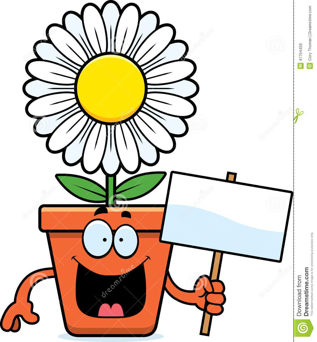 Sinal Do Vaso De Flores Dos Desenhos Animados Ilustração Do Vetor